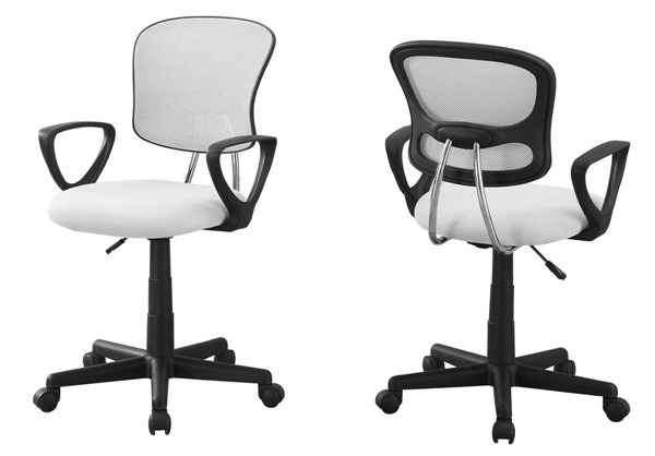 Monarch Specialties White Fabric Office Chair MNC-I-7261