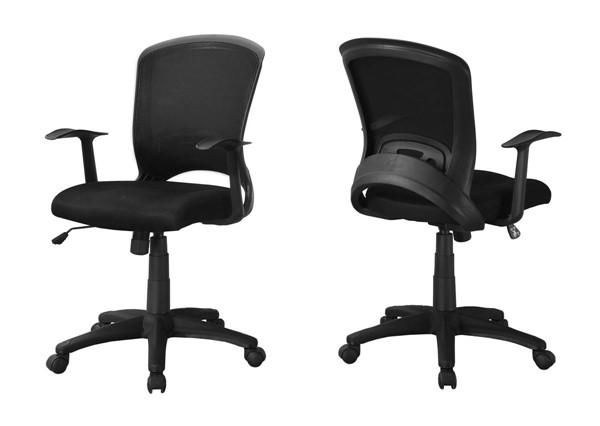Monarch Specialties Black Fabric Mid Back Office Chair MNC-I-7265