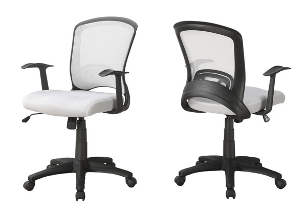 Monarch Specialties White Fabric Mid Back Office Chair MNC-I-7266