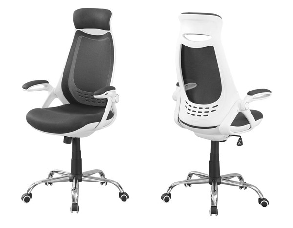 Monarch Specialties White Grey Polyester High Back Office Chair MNC-I-7269