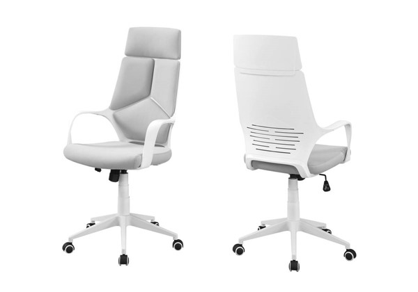 Monarch Specialties White Grey Fabric High Back Office Chair MNC-I-7270