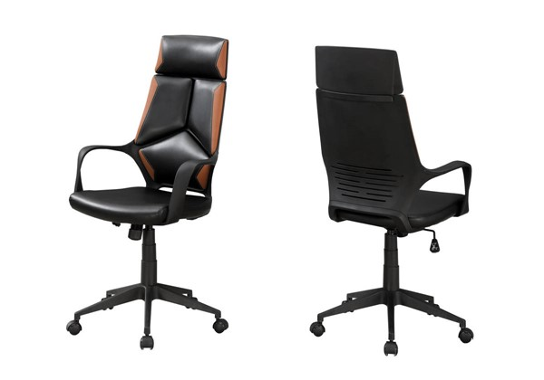 Monarch Specialties Black Brown Leather Office Chair MNC-I-7271