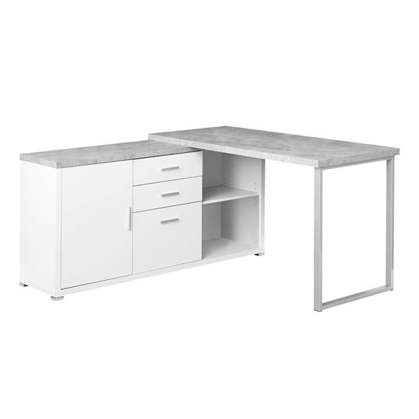 Monarch Specialties White Grey Silver Left or Right Computer Desk MNC-I-7288