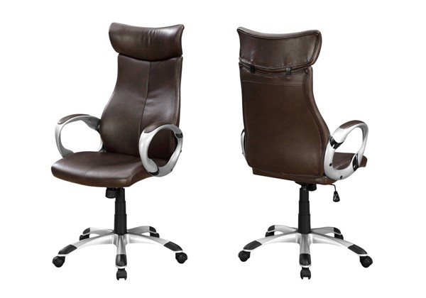 Monarch Specialties Brown Leather Silver Office Chair MNC-I-7289