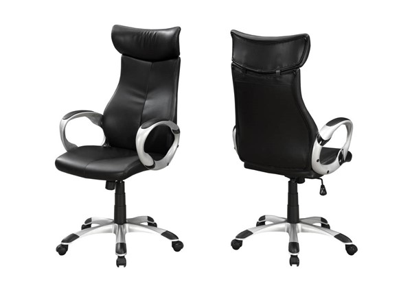 Monarch Specialties Black Leather Silver Office Chair MNC-I-7290