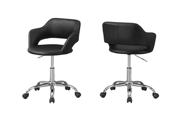 Monarch Specialties Black Leather Metal Office Chairs MNC-I-7298-OCH-VAR