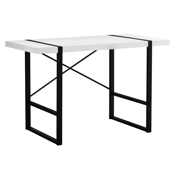 Monarch Specialties White Black Metal 48 Inch Computer Desk MNC-I-7313