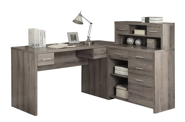 Monarch Specialties Taupe MDF Storage Computer L Desk MNC-I-7318