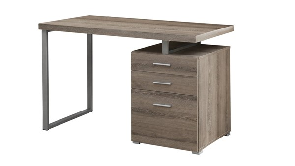 Monarch Specialties Dark Taupe Silver Left or Right Facing Computer Desk MNC-I-7326