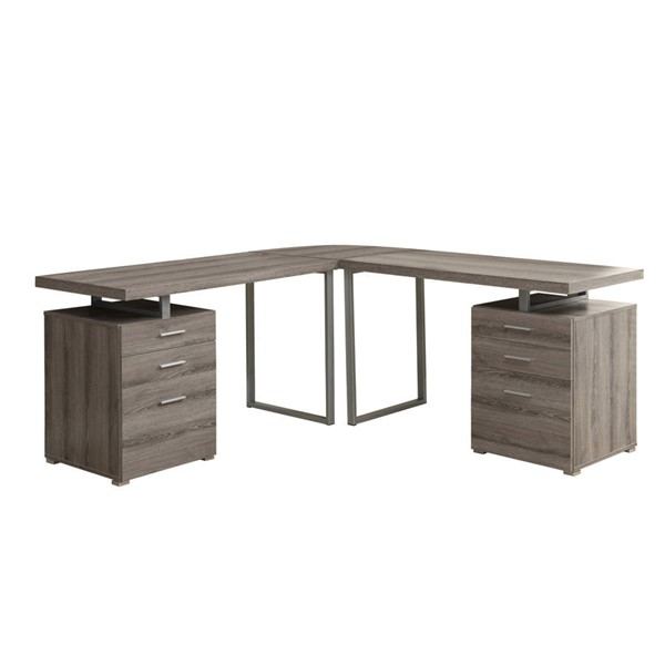 Monarch Specialties Taupe L Shaped Corner Computer Desk MNC-I-7326-3