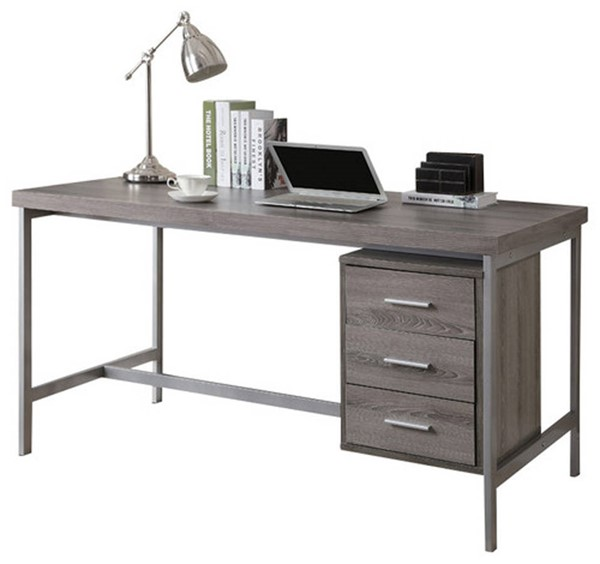 Monarch Specialties Taupe MDF Silver Computer Desk MNC-I-7345