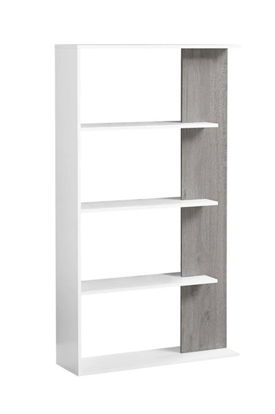 Monarch Specialties White Grey Wood Bookcase MNC-I-7355