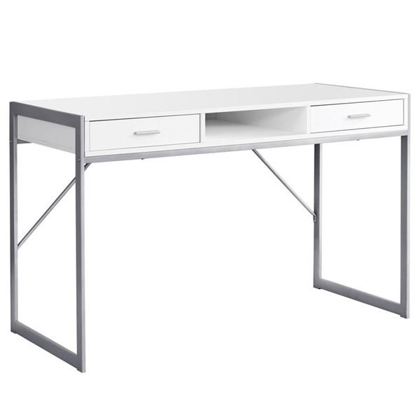 Monarch Specialties White Silver Metal Computer Desk MNC-I-7364