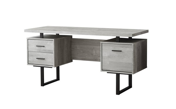 Monarch Specialties Grey MDF Black Metal Computer Desk MNC-I-7417