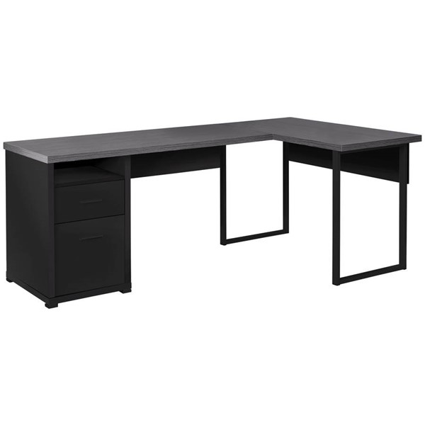 Monarch Specialties Black Grey 80 Inch Computer Desk MNC-I-7435