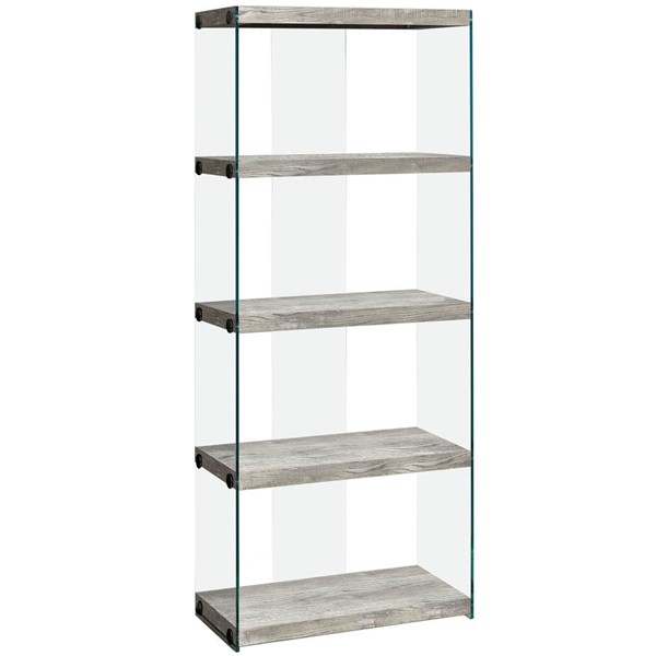 Monarch Specialties Grey Wood Bookcase MNC-I-7442