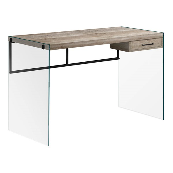 Monarch Specialties Taupe Black Clear Computer Desk MNC-I-7446