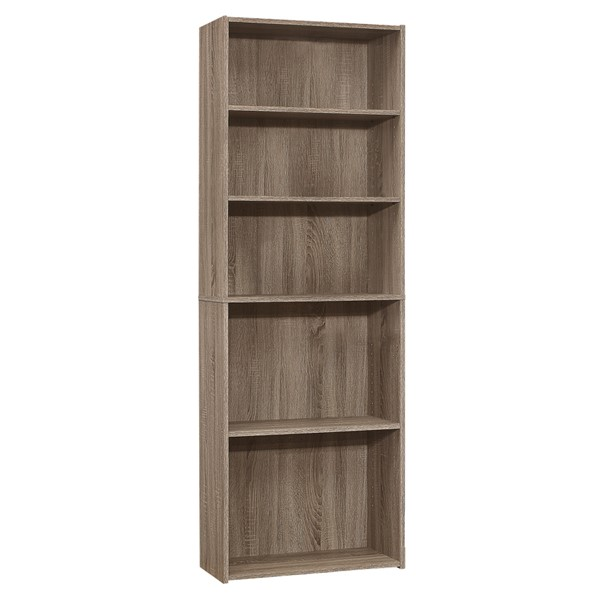 Monarch Specialties Dark Taupe 72 Inch 5 Shelves Bookcase MNC-I-7468