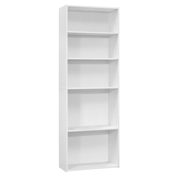 Monarch Specialties White 72 Inch 5 Shelves Bookcase MNC-I-7470
