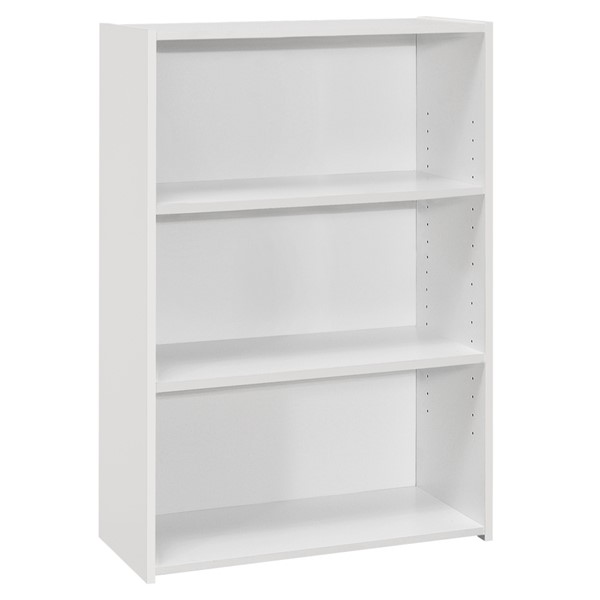 Monarch Specialties White 36 Inch 3 Shelves Bookcases MNC-I-7479