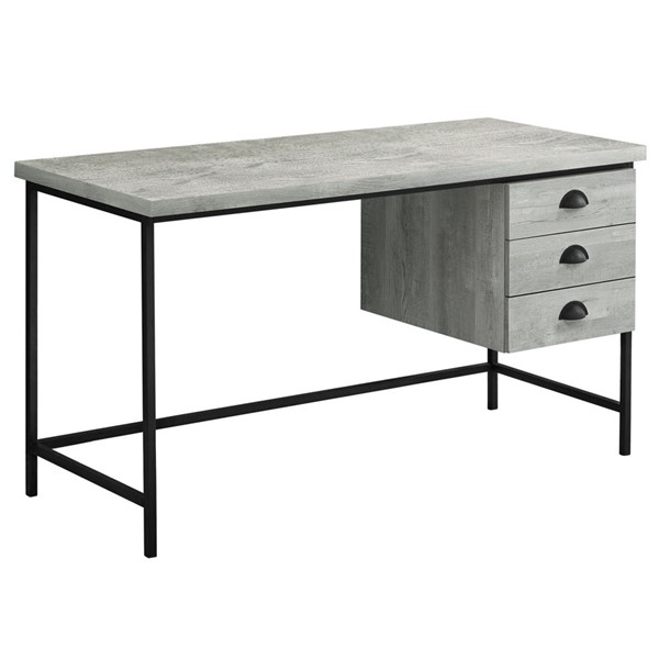 Monarch Specialties Grey Wood Black Metal 55 Inch Computer Desk MNC-I-7486