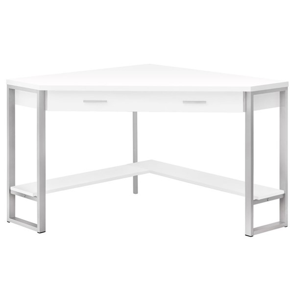 Monarch Specialties White Silver Metal 42 Inch Computer Desk MNC-I-7500