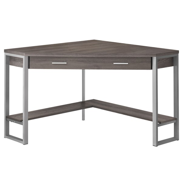 Monarch Specialties Dark Taupe Silver Metal 42 Inch Computer Desk MNC-I-7501