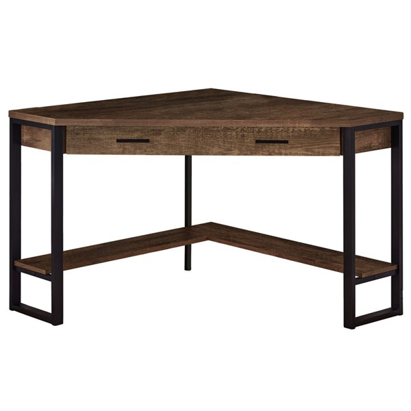 Monarch Specialties Brown Wood Black 42 Inch Computer Desk MNC-I-7504