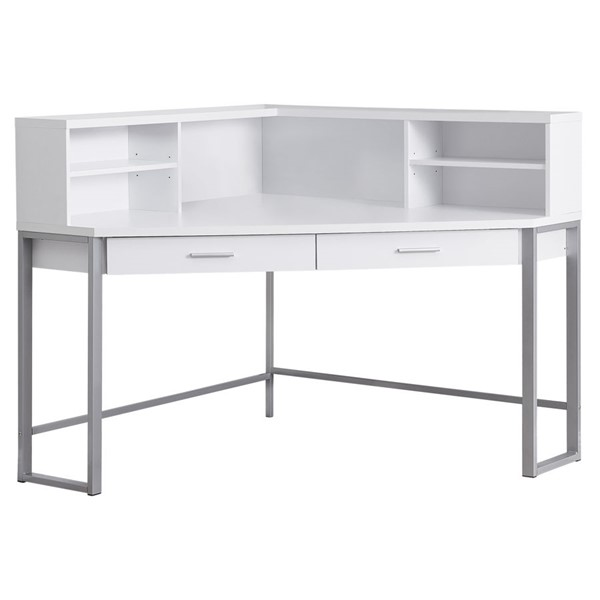 Monarch Specialties White Silver Metal 48 Inch Computer Desk MNC-I-7510