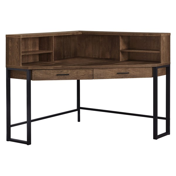 Monarch Specialties Brown Wood Black 48 Inch Computer Desk MNC-I-7514