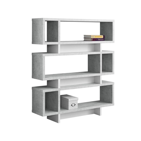Monarch Specialties Grey White Tall Bookcase MNC-I-7532