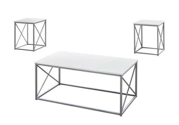 Monarch Specialties White Silver Metal 3pc Coffee Table Set MNC-I-7951P