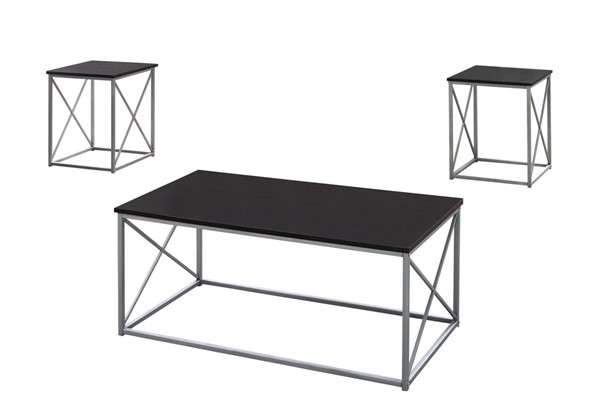 Monarch Specialties Cappuccino Silver Metal 3pc Coffee Table Set MNC-I-7952P