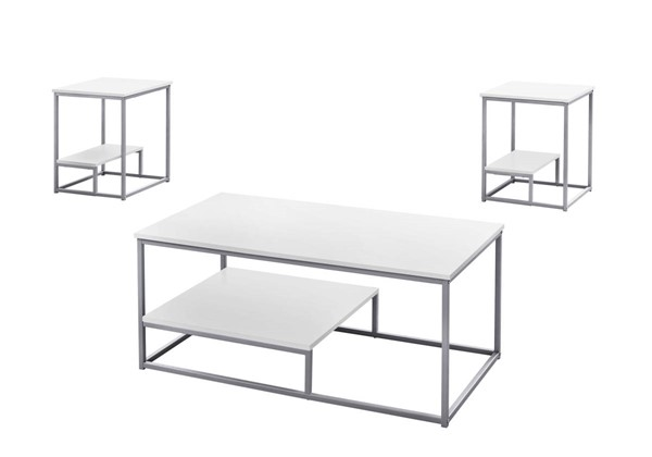Monarch Specialties White Silver 3pc Occasional Table Set MNC-I-7961P