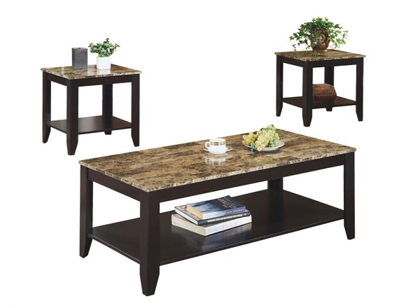 Monarch Specialties Cappuccino Marble Top 3pc Coffee Table Set MNC-I-7984P