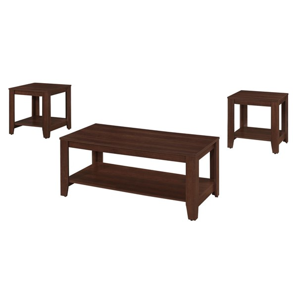 Monarch Specialties Cherry Particle Board Rectangle 3pc Coffee Table Set MNC-I-7993P