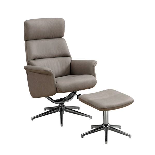Monarch Specialties Taupe Glider Recliner with Ottoman MNC-I-8134