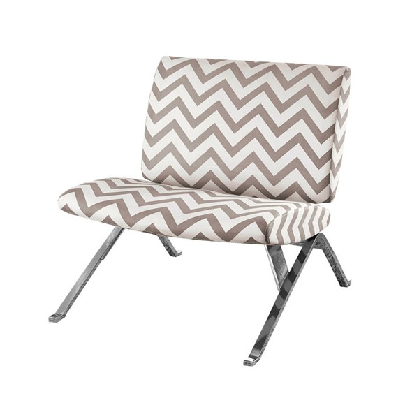 Monarch Specialties Taupe White Fabric Accent Chair MNC-I-8137