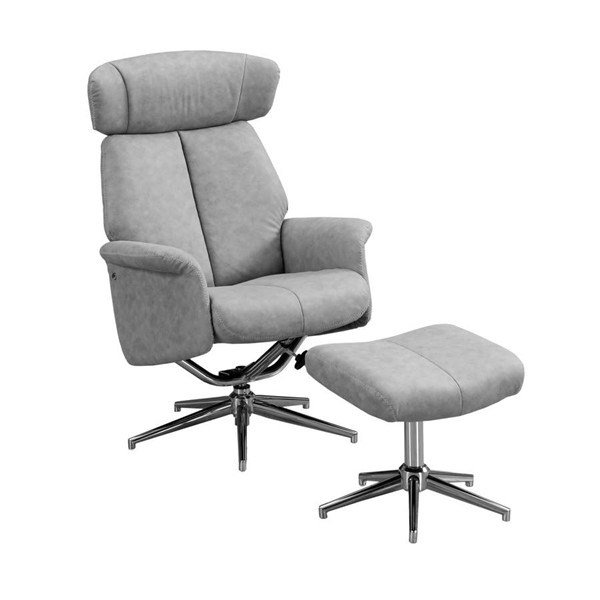 Monarch Specialties Grey Polyester Glider Recliner with Ottoman MNC-I-8139