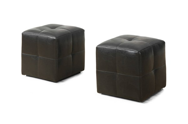 2 Monarch Specialties Brown Leather Ottomans MNC-I-8160