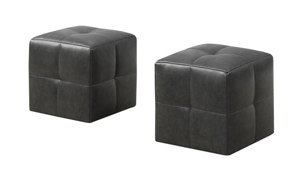 2 Monarch Specialties Charcoal Leather Ottomans MNC-I-8163