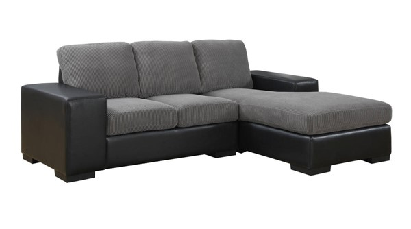 Monarch Specialties Grey Bonded Leather Sofa Lounger MNC-I-8200GB