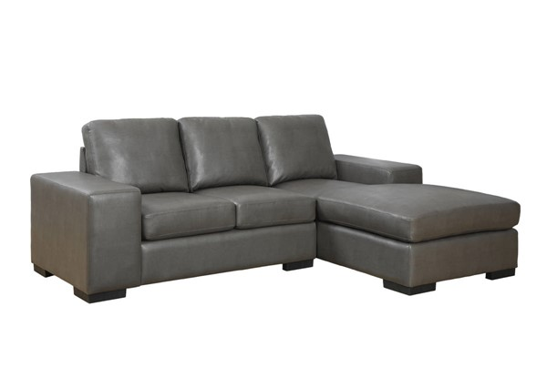 Monarch Specialties Charcoal Grey Bonded Leather Sofa Lounger MNC-I-8200GY