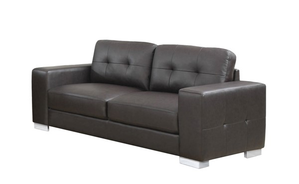 Monarch Specialties Brown Bonded Leather Sofa MNC-I-8223BR