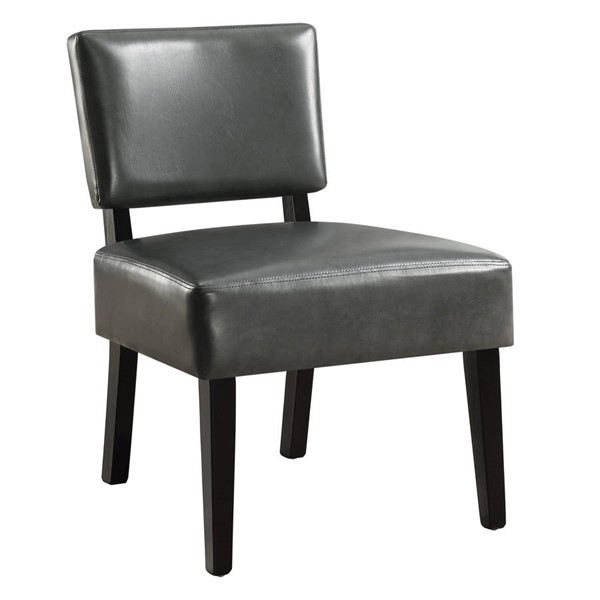 Monarch Specialties Charcoal Leather Cushion Back Accent Chair MNC-I-8285