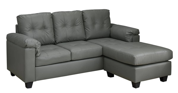 Monarch Specialties Light Grey Bonded Leather Sofa Lounger MNC-I-8390LG