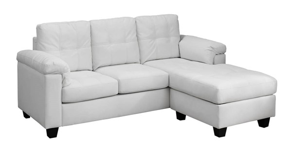 Monarch Specialties White Bonded Leather Sofa Lounger MNC-I-8390WH