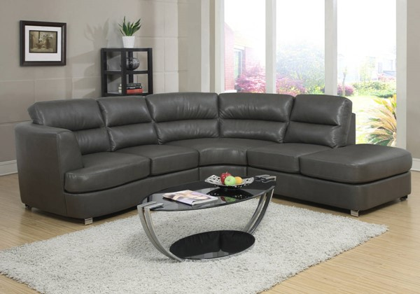 Monarch Specialties Grey Bonded Leather Sofa Sectional MNC-I-8445GY