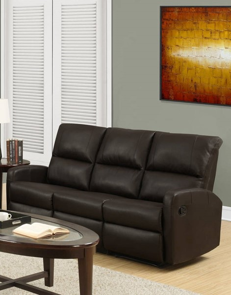 Monarch Specialties Brown Bonded Leather Reclining Sofa MNC-I-84BR-3