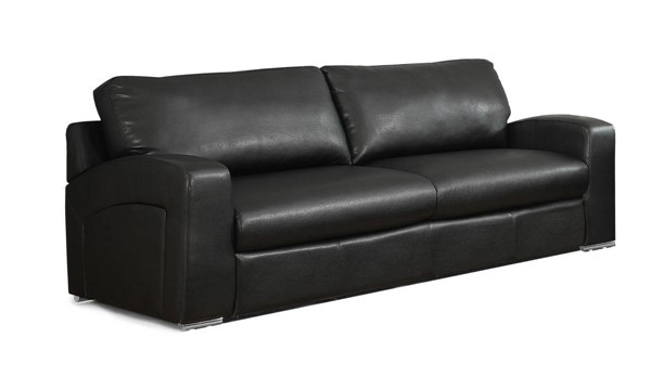 Monarch Specialties Black Bonded Leather Cushion Back Sofa MNC-I-8503BK